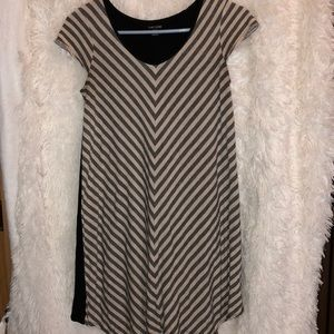 KENSIE Black & Tan Diagona Striped A Line Dress